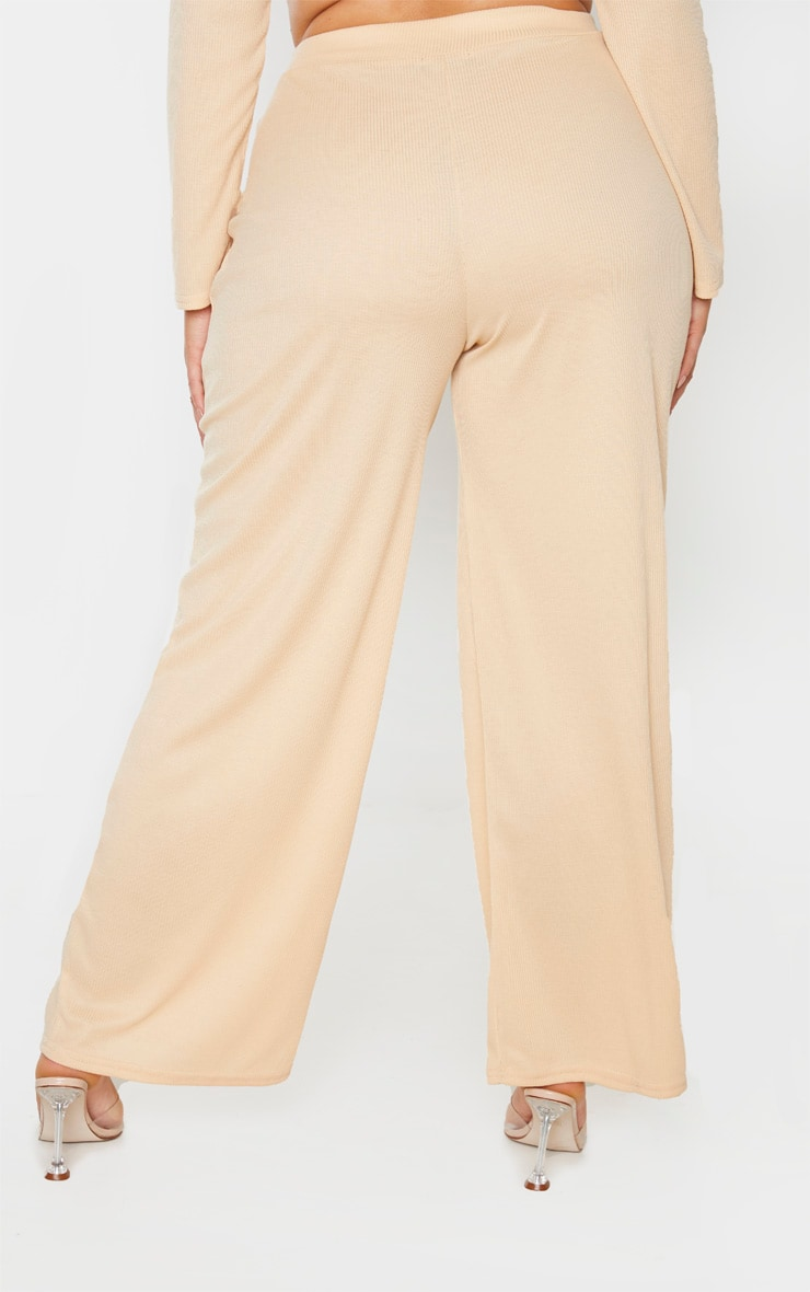 Plus Stone Ribbed Wide Leg Pants 4