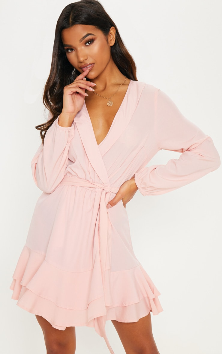 Blush Tie Waist Frill Hem Dress by Prettylittlething