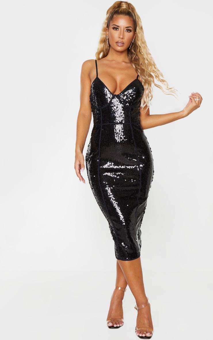 Black Sequin Binding Detail Strappy Midi Dress 1