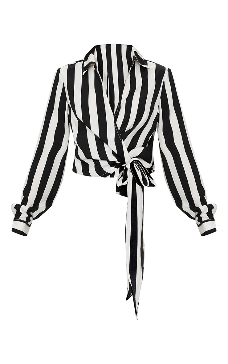 Monochrome Stripe Wrap Front Tie Side Blouse 2