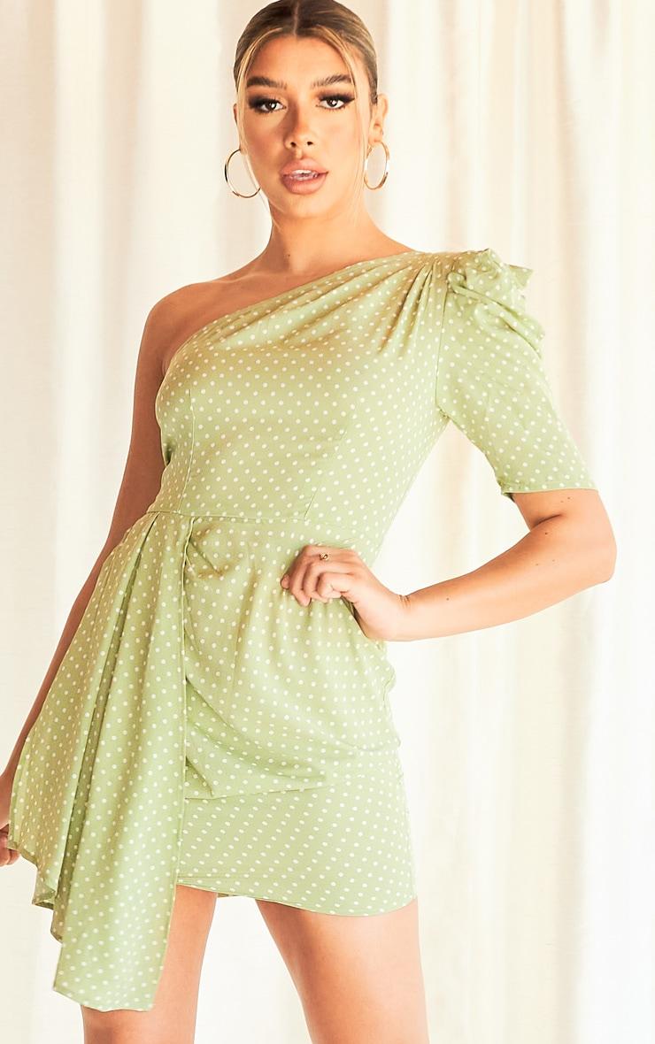 Sage Green Polka Dot One Shoulder Drape Detail Bodycon Dress 1