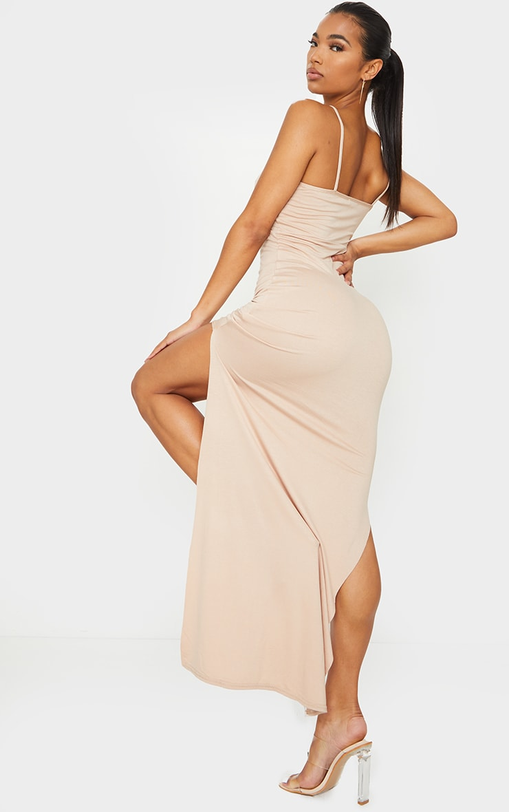 Stone Racer Neck Low Back Maxi Dress 2