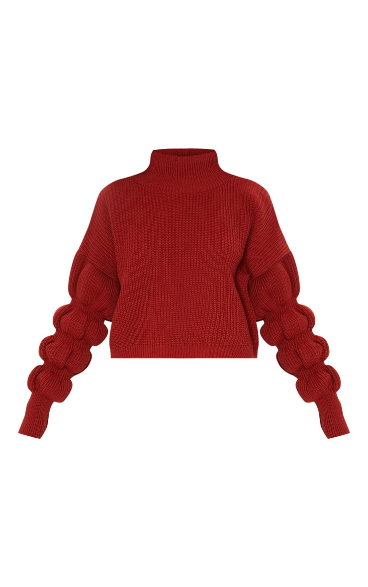 Rust Bubble Sleeve Knitted Jumper  3