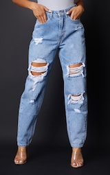 PRETTYLITTLETHING Petite Light Blue Wash Ripped Mom Jeans 2