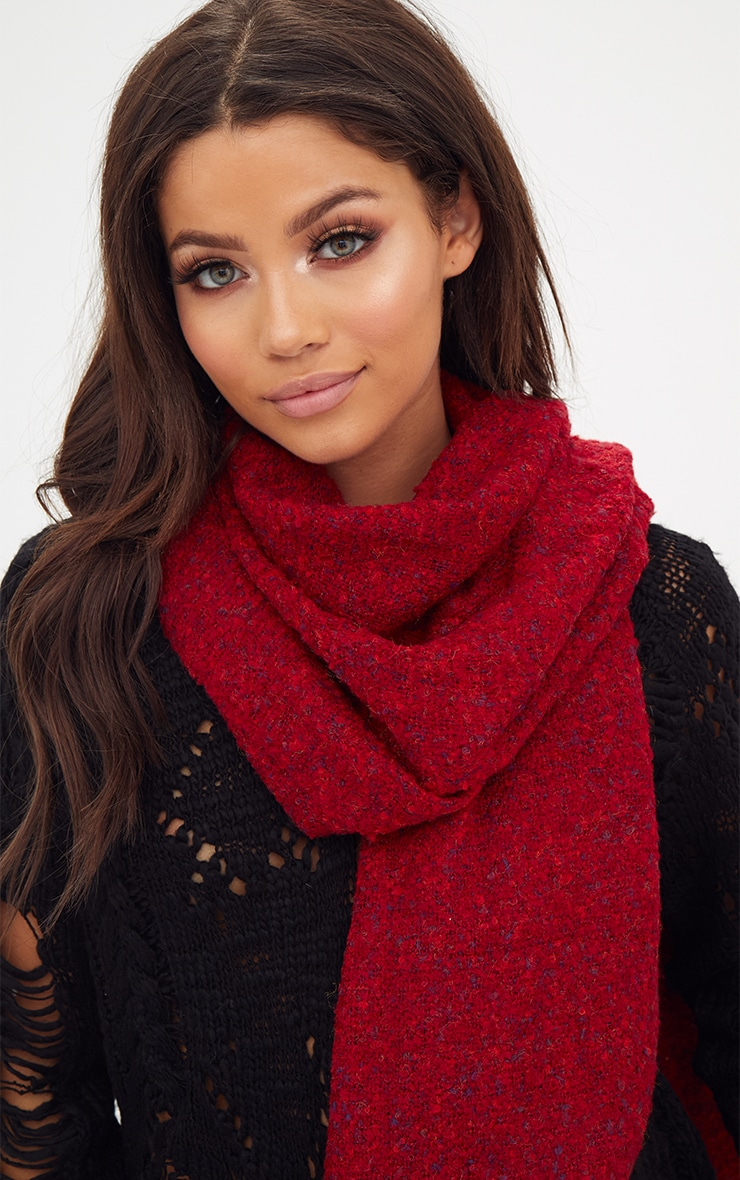 Red Long Fringed Scarf 3