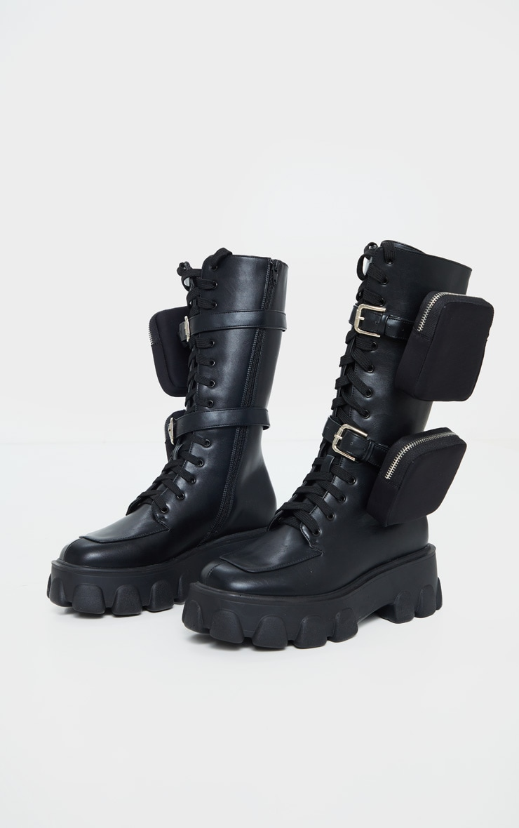 Black Double Pocket Trim Lace Up Extreme Cleated Sole Biker Boot 3