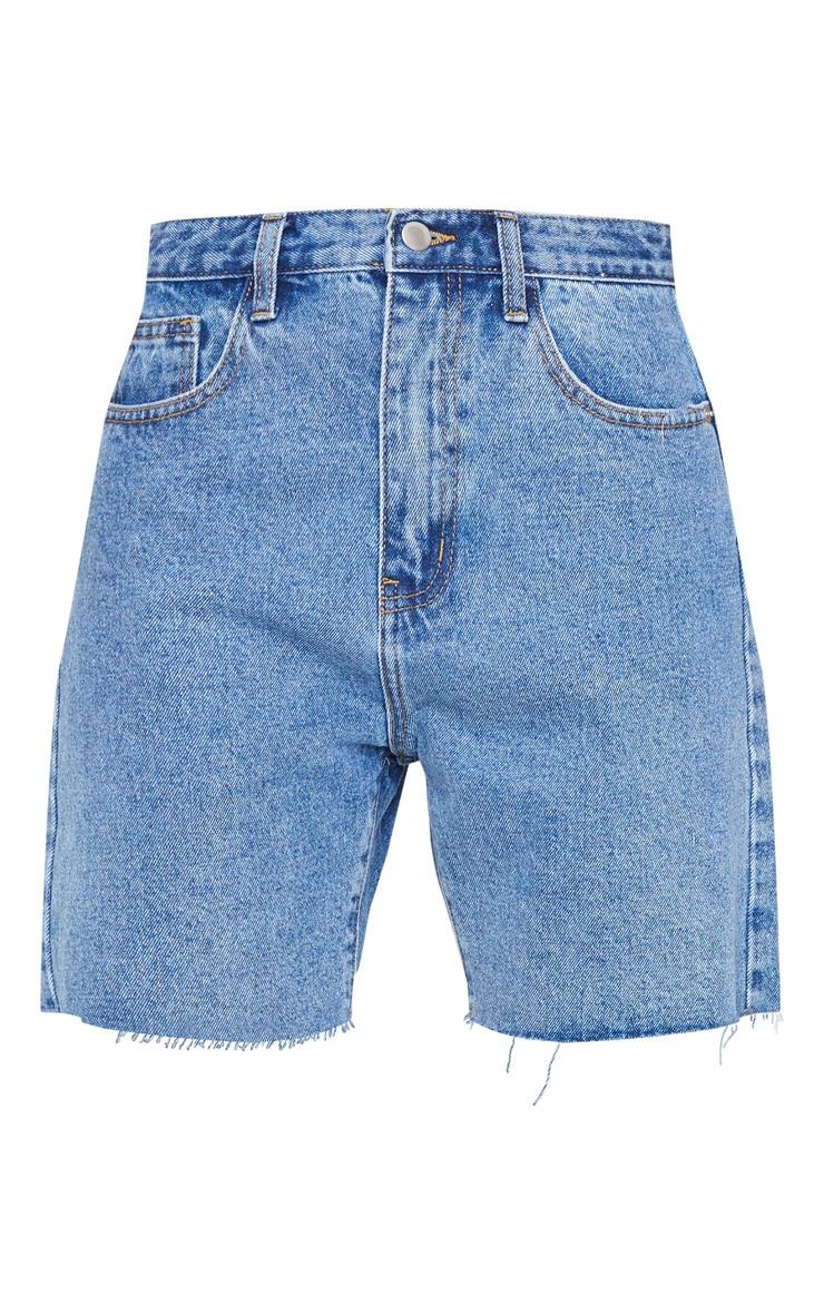 PRETTYLITTLETHING Mid Blue Wash Longline Fitted Denim Shorts 6