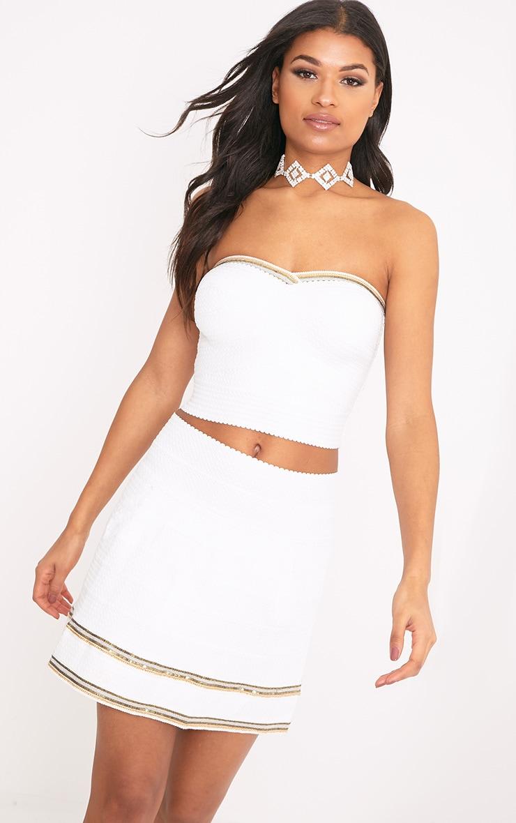 Calvina White Beaded Hem Bandage Skirt  1