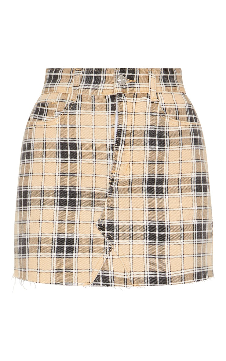 Stone Check Denim Skirt  3