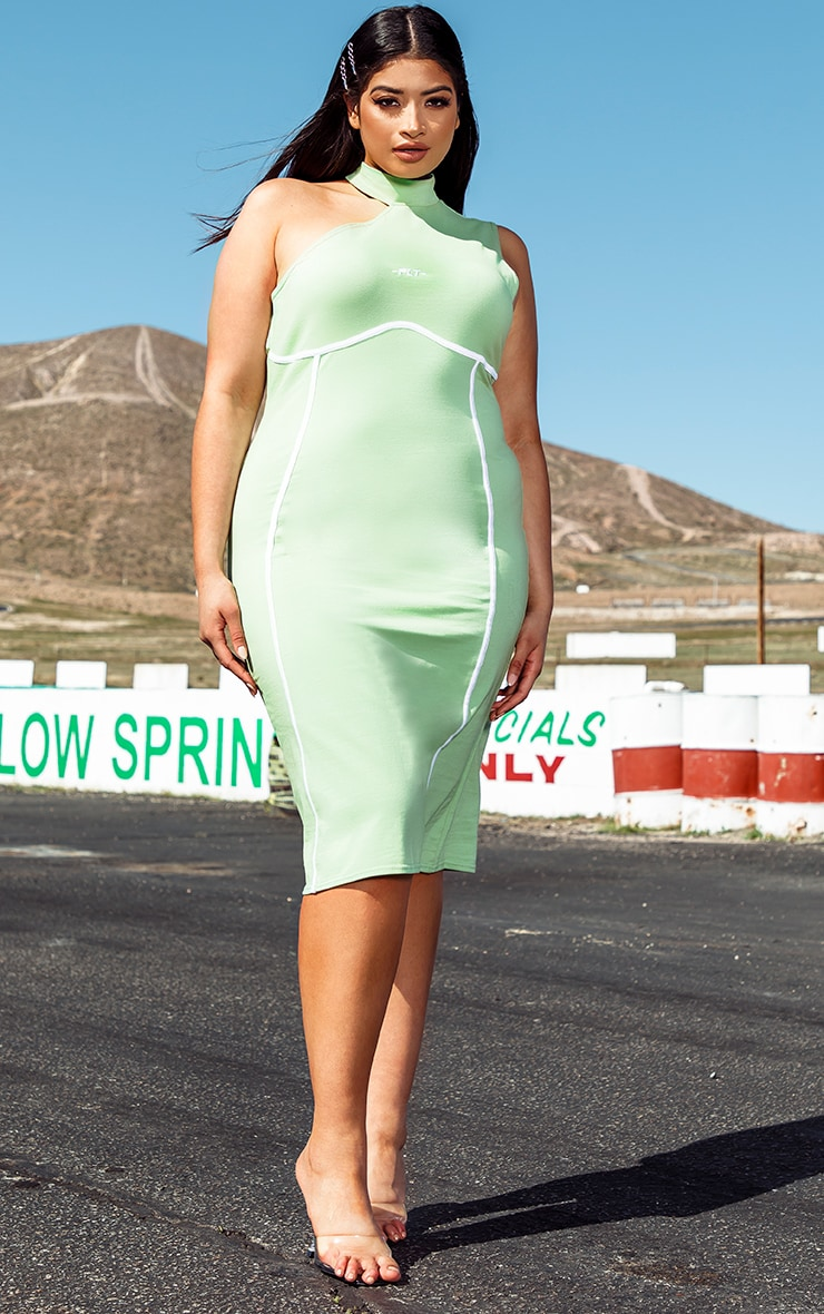 PRETTYLITTLETHING Plus Green Binding Detail High Neck Midi Dress
