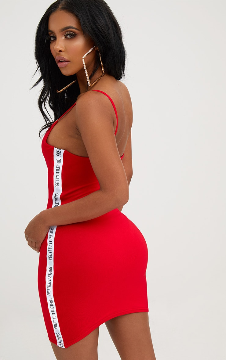 PRETTYLITTLETHING Shape Red Band Cami Dress 2