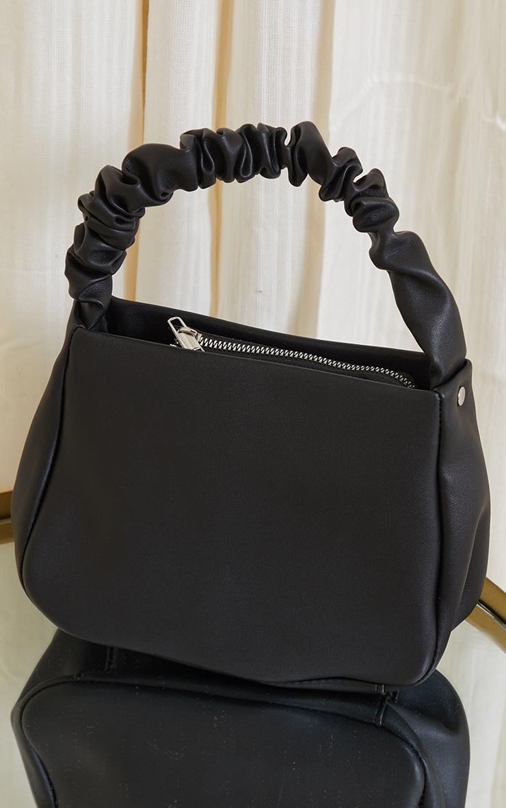 Black PU Ruched Handle Shoulder Bag 2