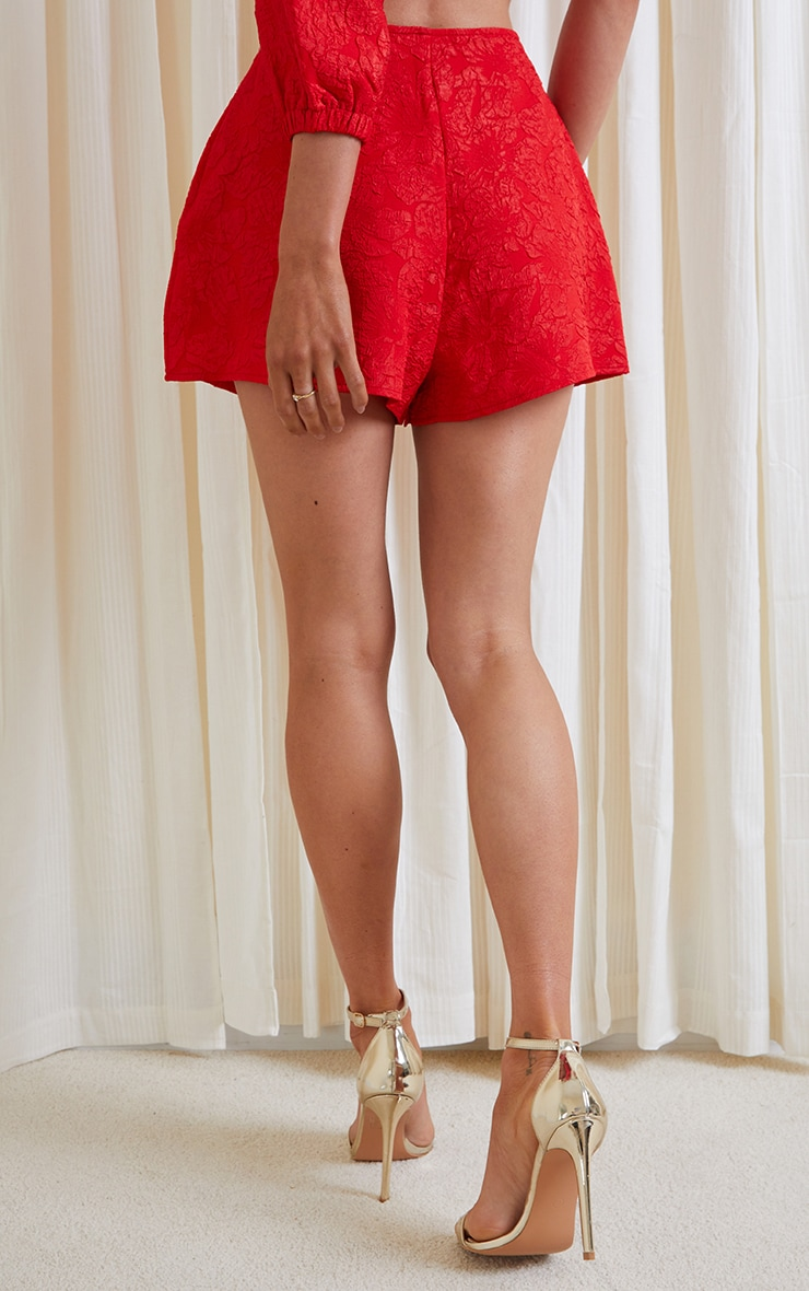 Red Embossed Jacquard A Line Shorts 3
