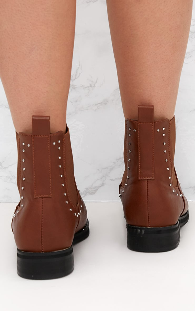 Tan PU Studded Chelsea Boot 4