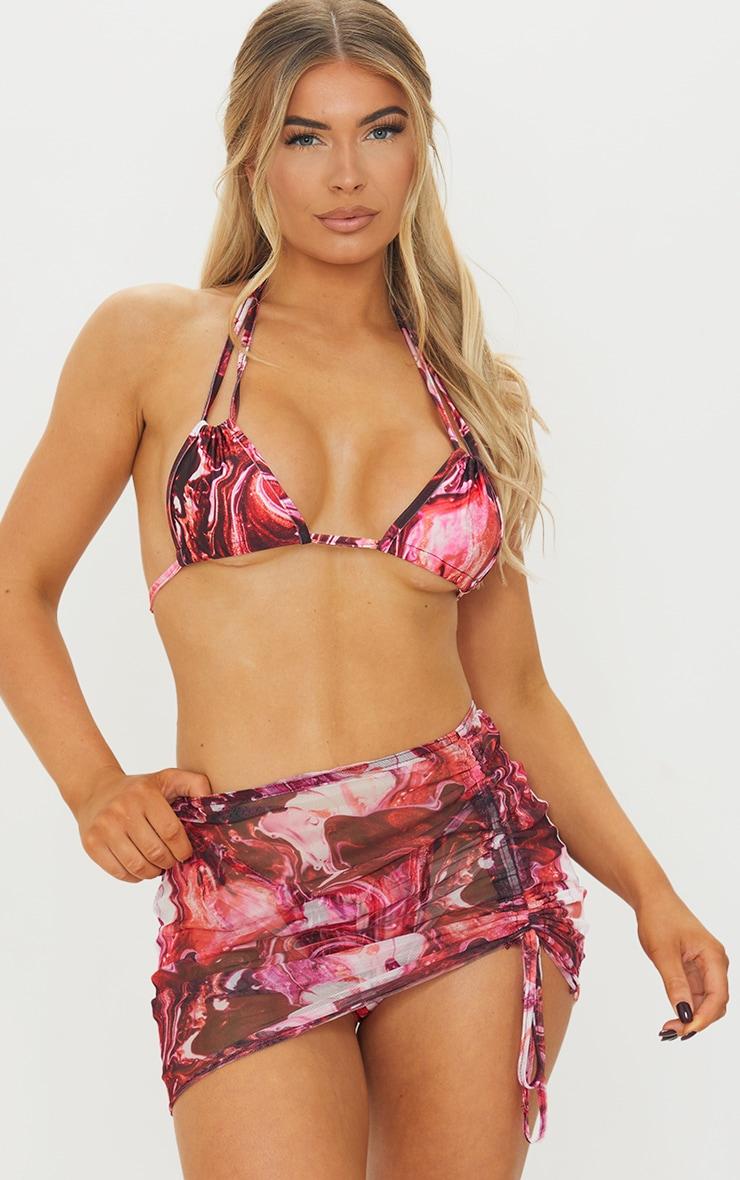 Purple Print Mesh Ruched Side Beach Skirt 1