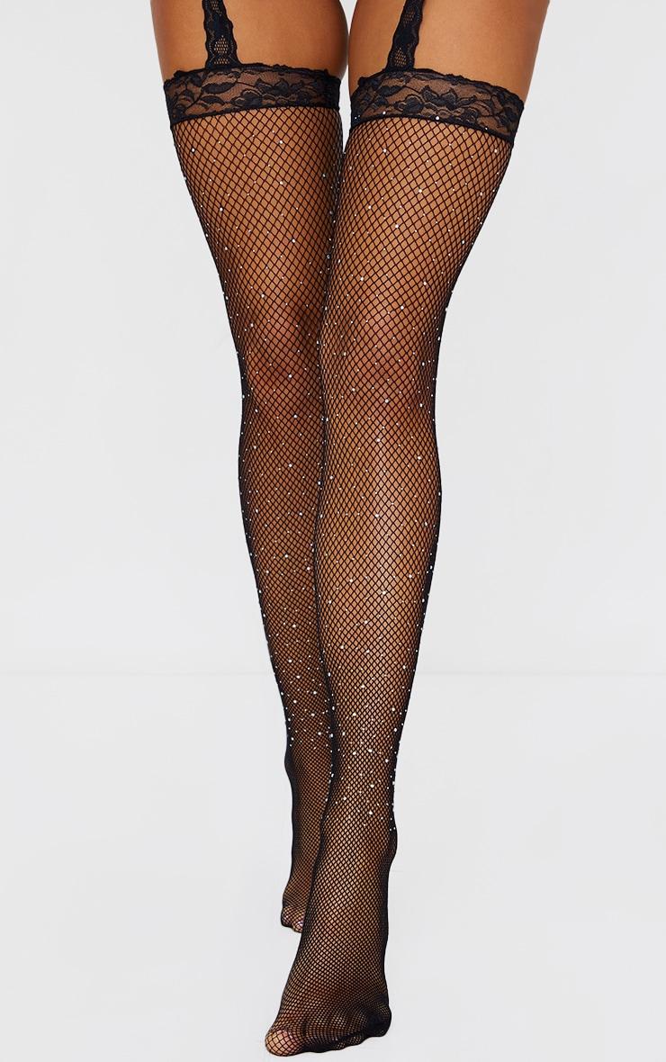 Black Diamante Lace Suspender Tights 1
