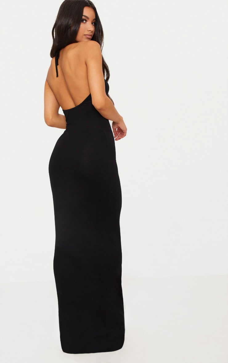 Black Basic Halterneck Maxi Dress 2