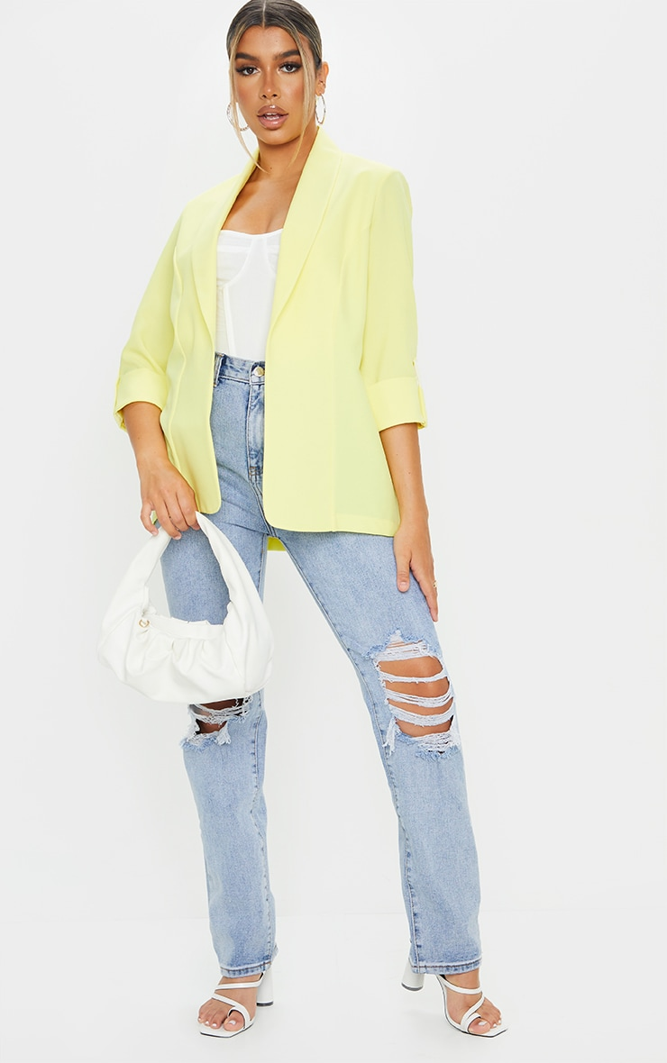 Lemon Woven Turn Up Sleeve Blazer 3
