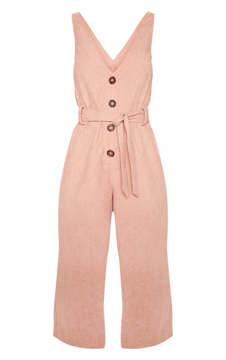 Blush Cord Button Front Culotte Jumpsuit 3