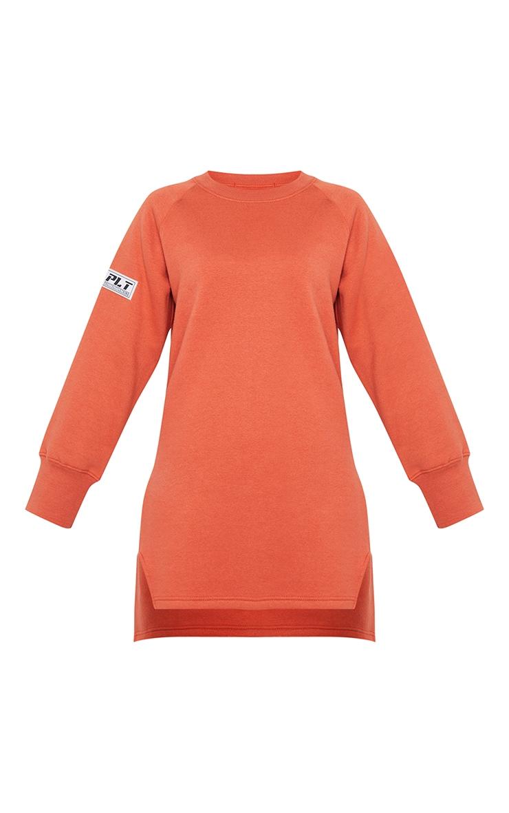 PRETTYLITTLETHING Washed Red Slogan Dip Hem Sweat Sweater Dress 5
