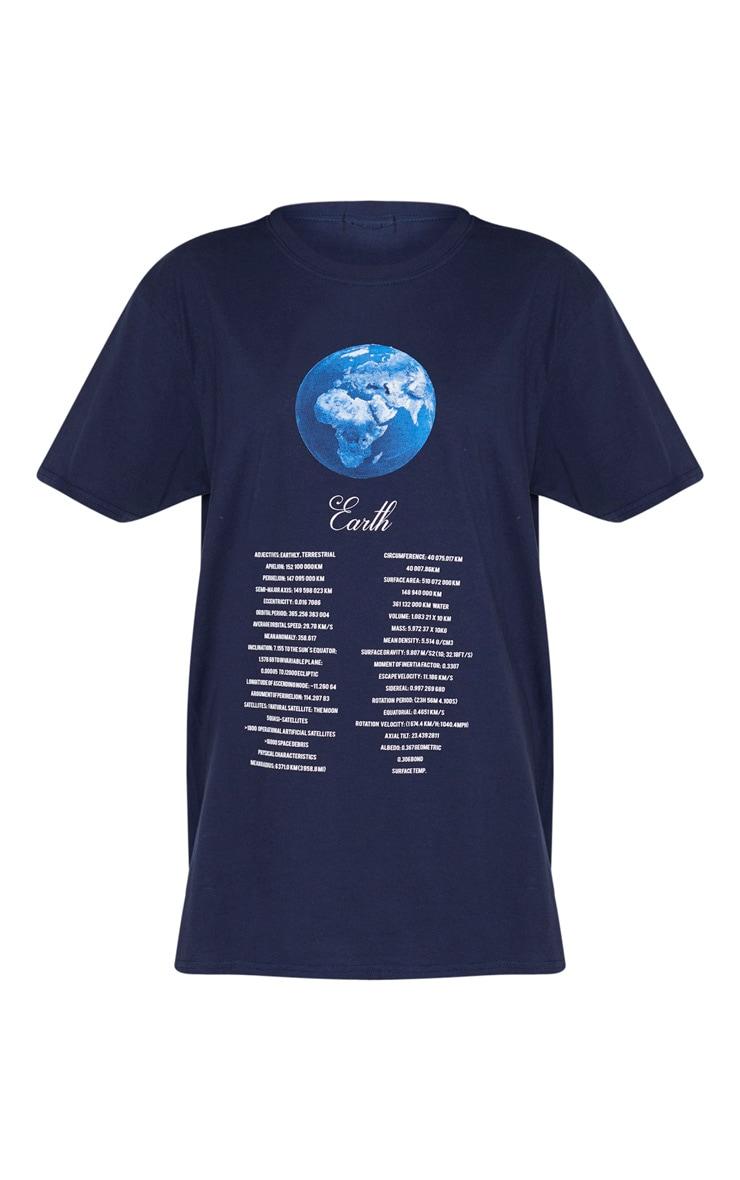 Navy Space Print T Shirt 3