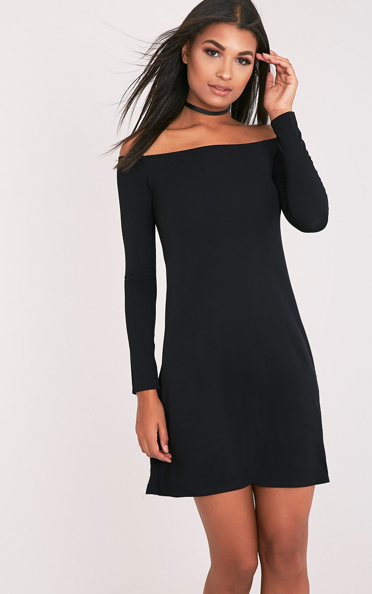 Lisa Black Jersey Bardot Swing Dress 1