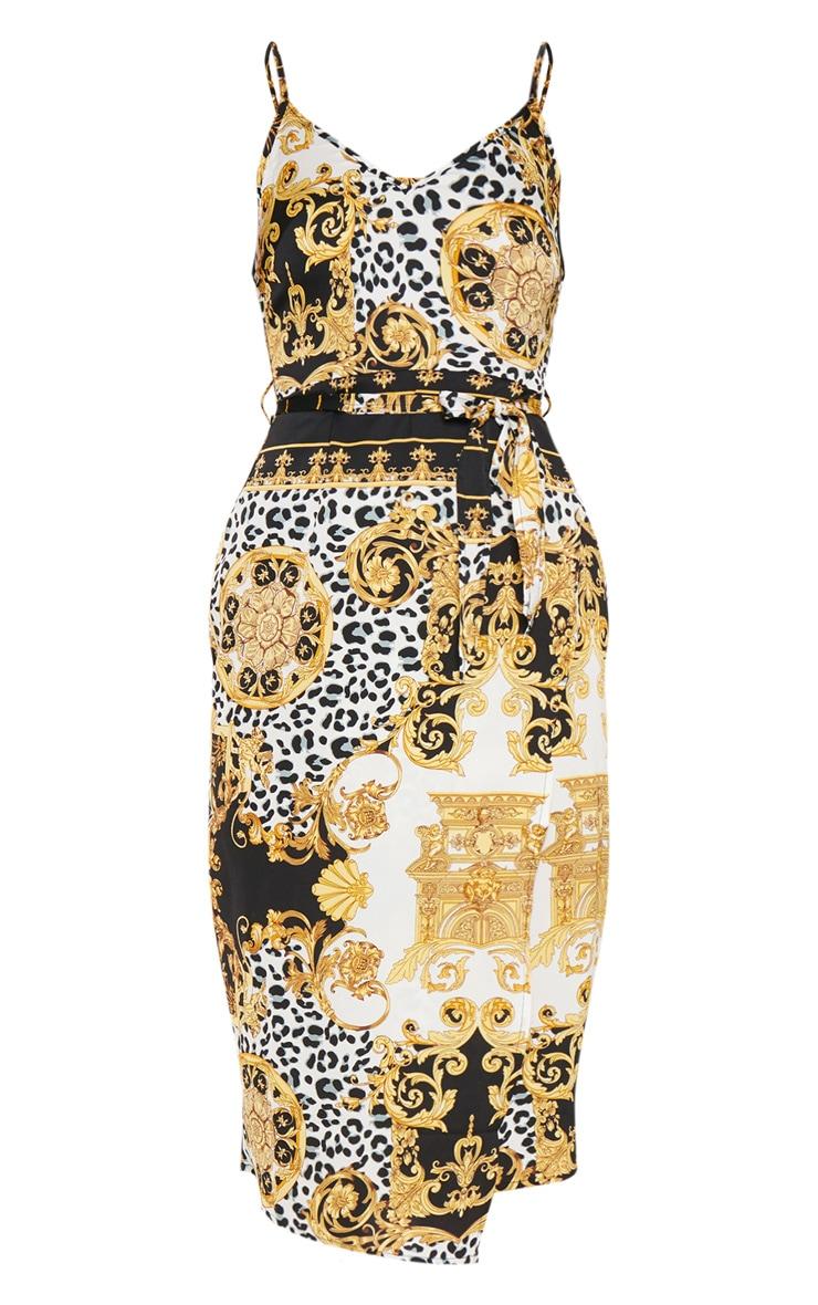 Black Chain Print Wrap Slip Dress 3