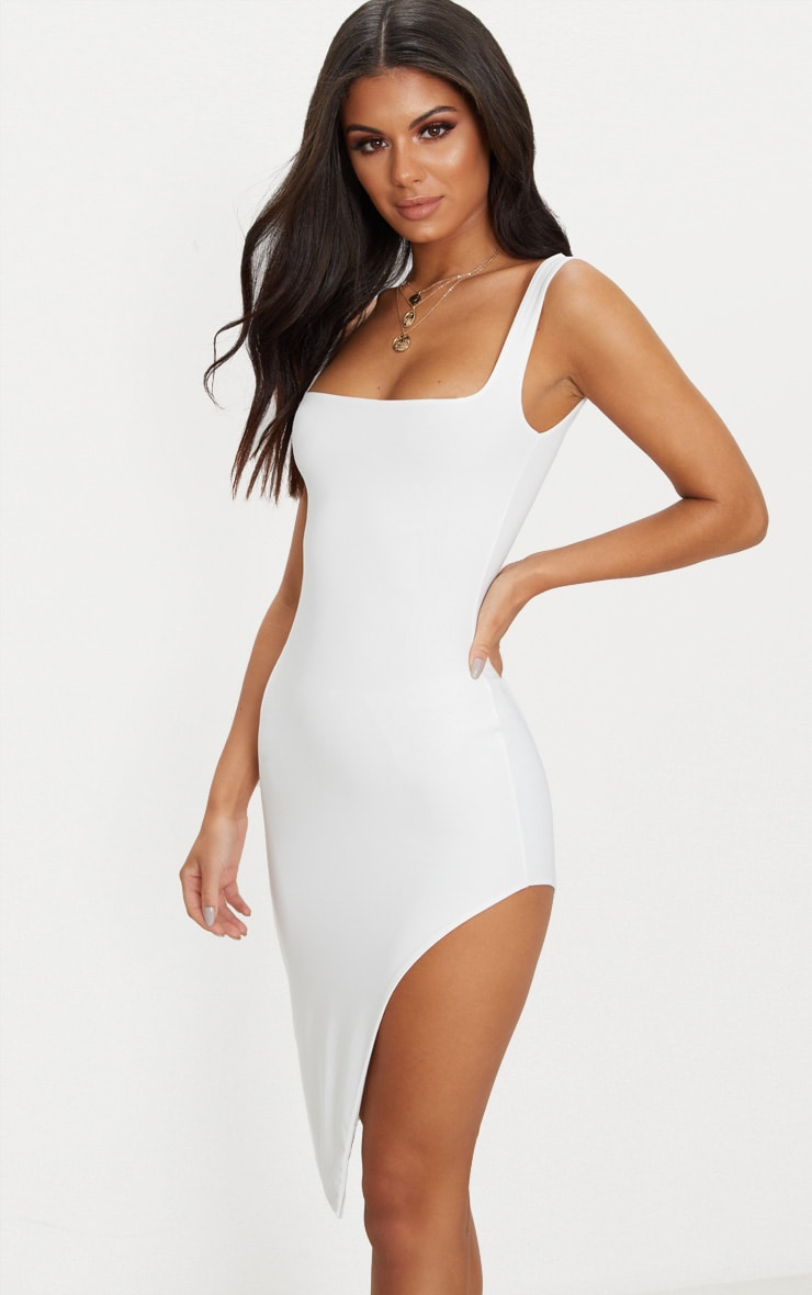 White Double Layer Slinky Square Neck Extreme Split Midi Dress 1