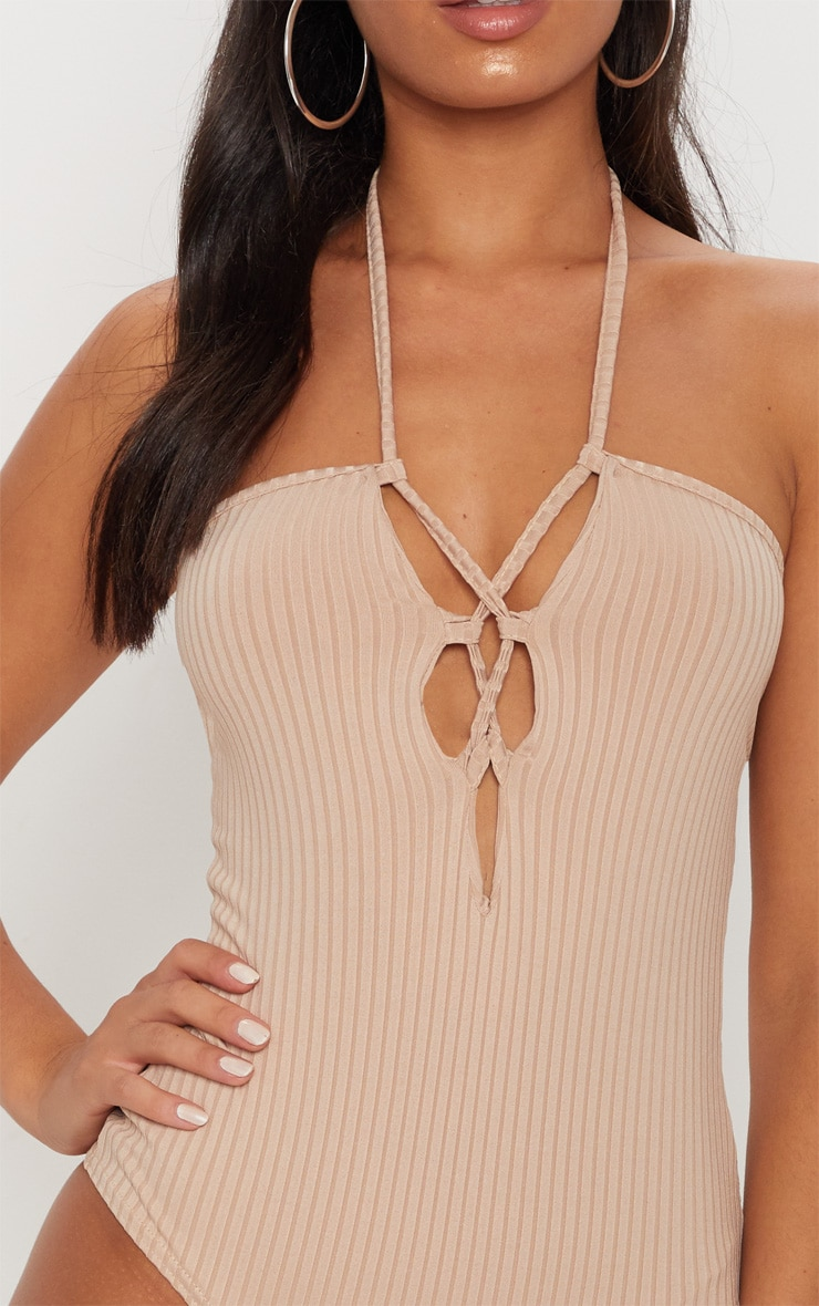 Nude Ribbed Halterneck Lace Up Bodysuit 6