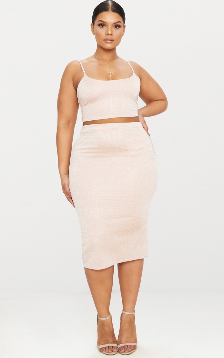 Plus Champagne Textured Strappy Crop Top 4