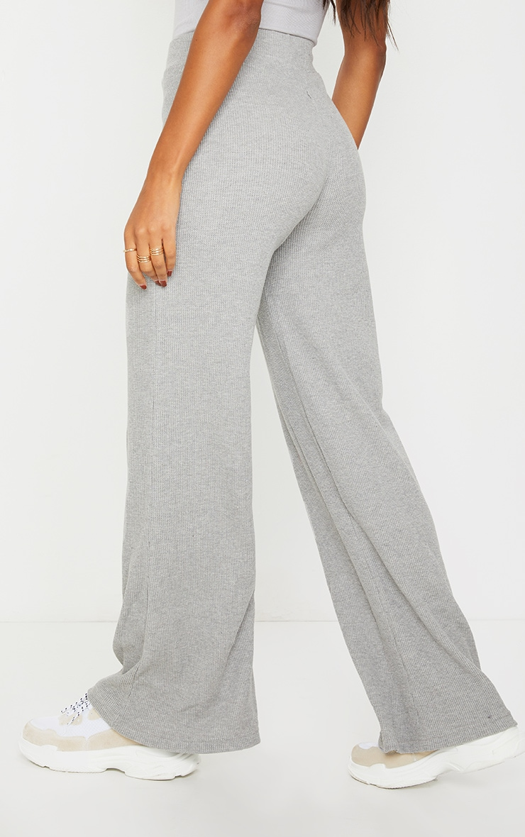 Grey Waffle Textured Wide Leg Trousers 3