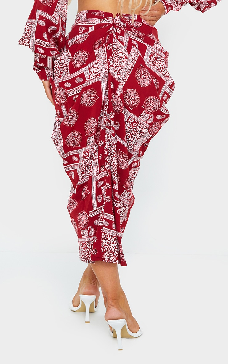 Red Paisley Print Tie Wrap Skirt 3