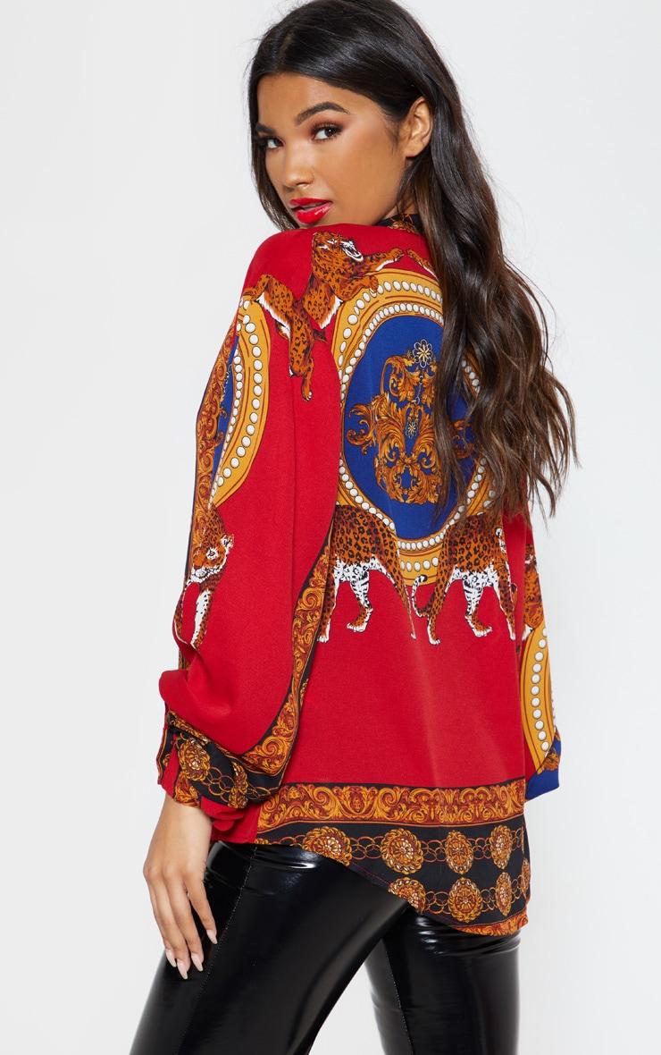 Red Mixed Print Sheer Oversized Shirt 2