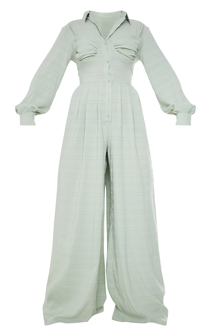 Sage Green Ruched Cup Wide Leg Shirt Jumpsuit 5