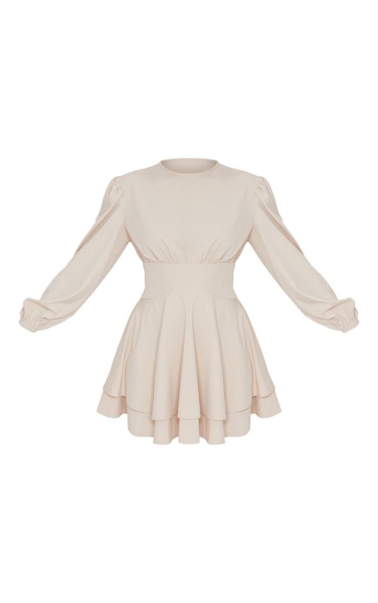 Stone Woven Binding Waist Detail Puff Long Sleeve Shift Dress 5