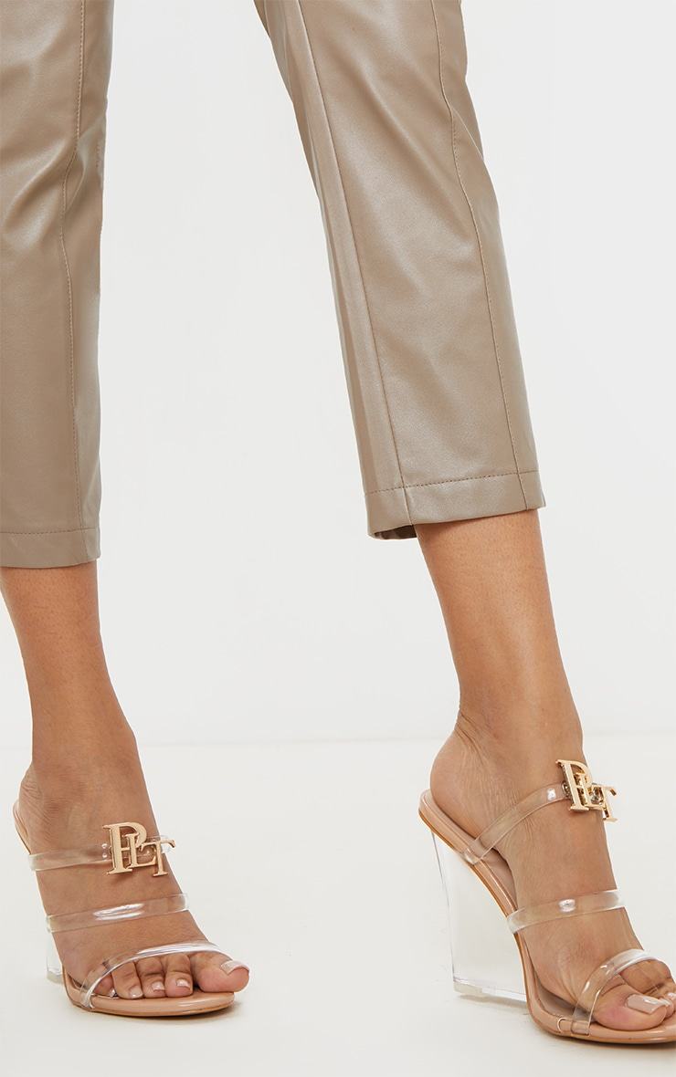 Nude Clear Wedge Tube Strappy Sandal 2