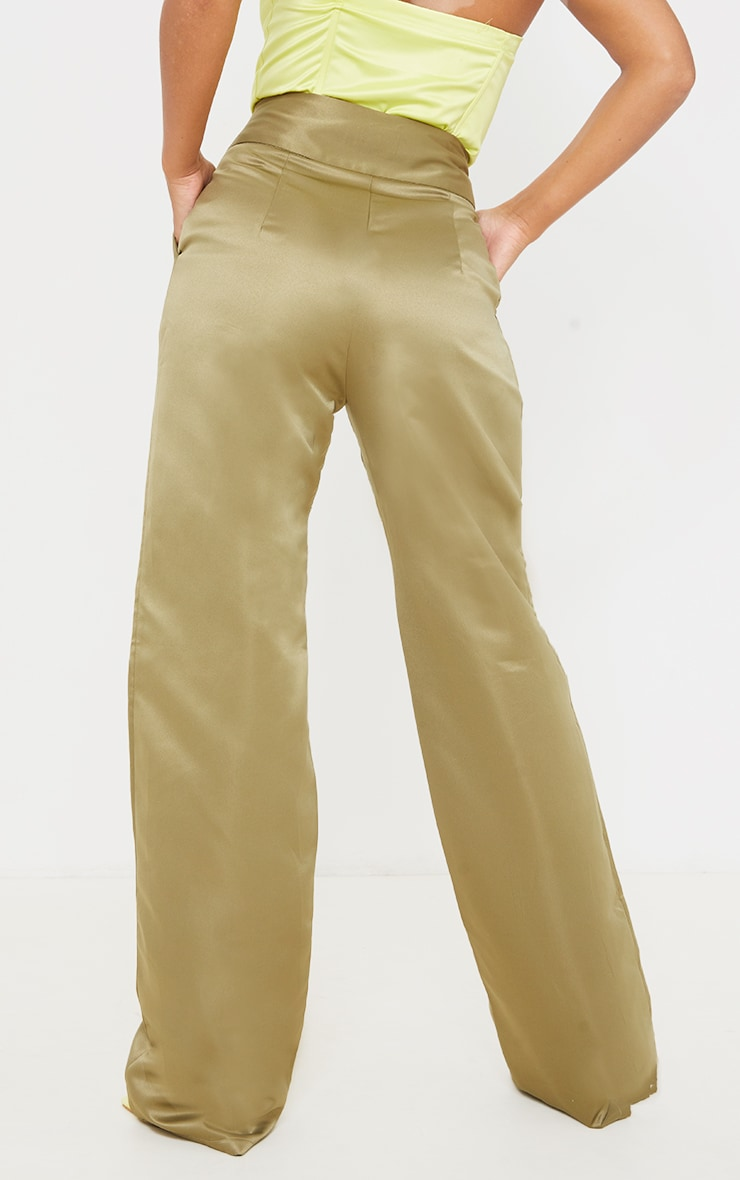 Olive Satin Buckle Detail Wide Leg Trousers 3