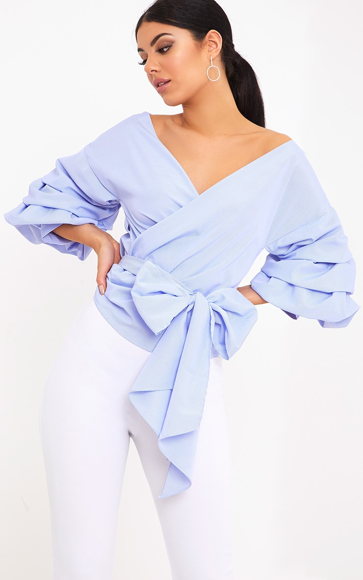 Marlow Blue Check Oversized Ruffle Sleeve Low Shoulder Shirt 1