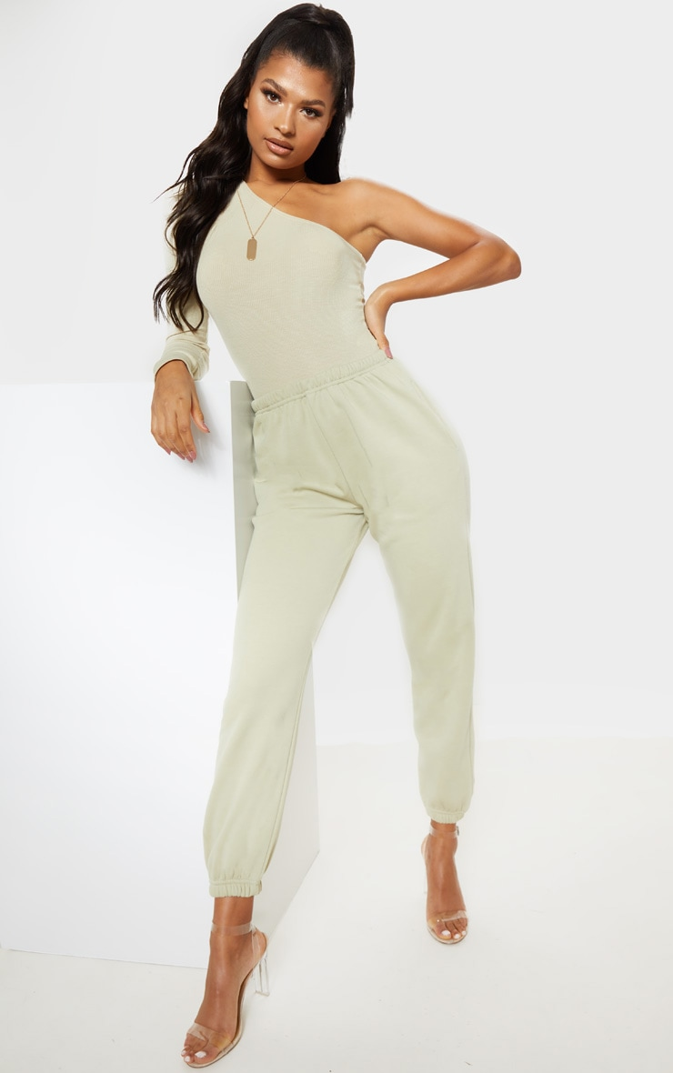 Sage Green Rib One Shoulder Bodysuit 3
