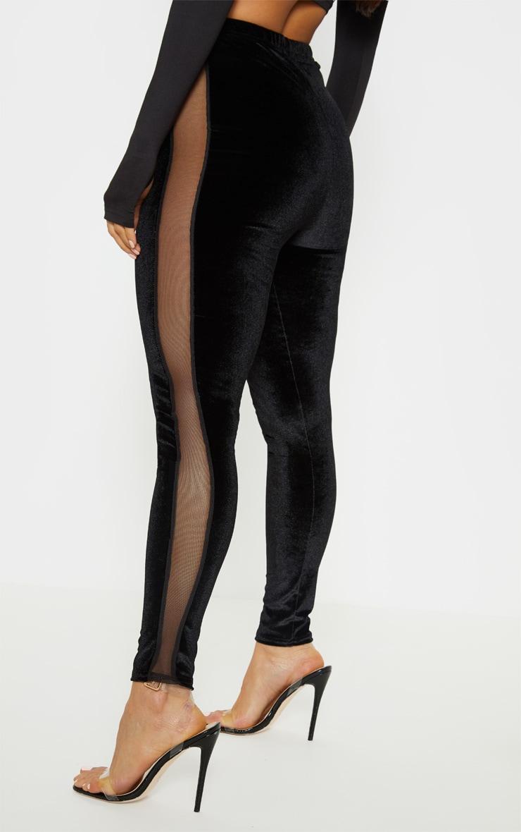 Black Velvet Mesh Panel Legging 4