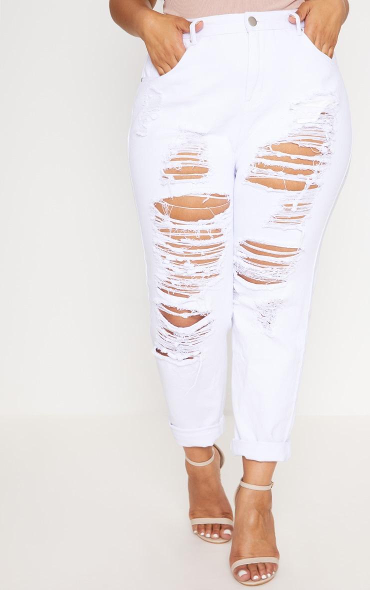 Plus White Super Distressed Mom Jeans 2