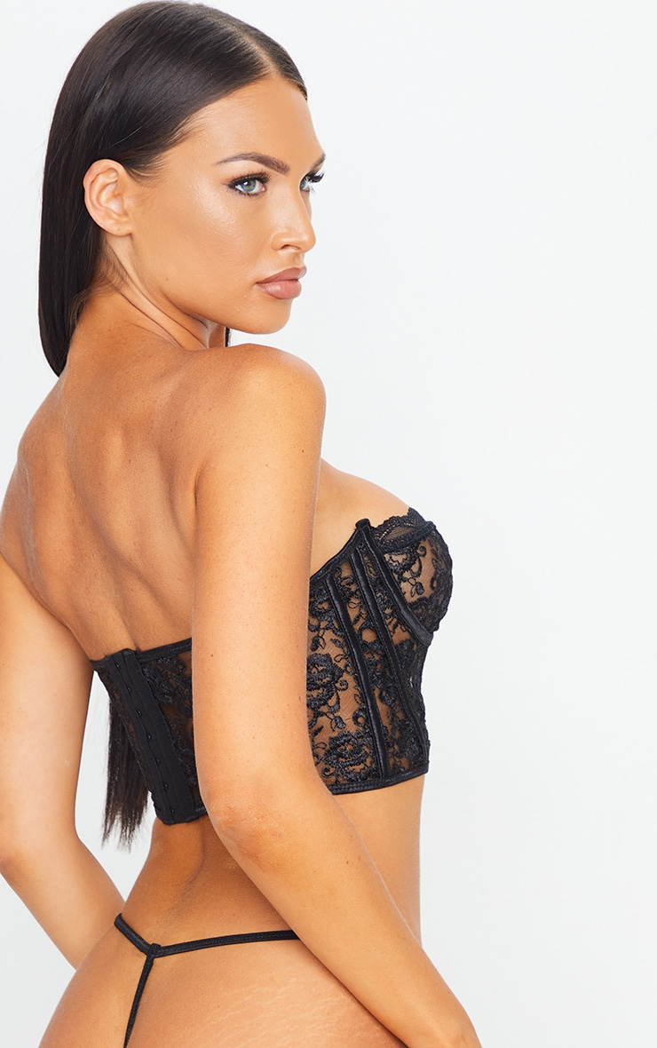 Black Embroidered Lace Corset Underwired Lingerie Set 2