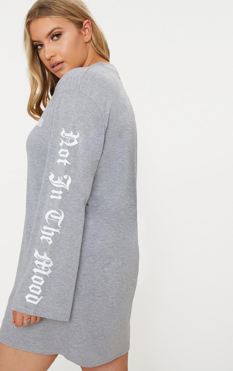 Plus Grey Marl Oversized Slogan T-Shirt Dress 2