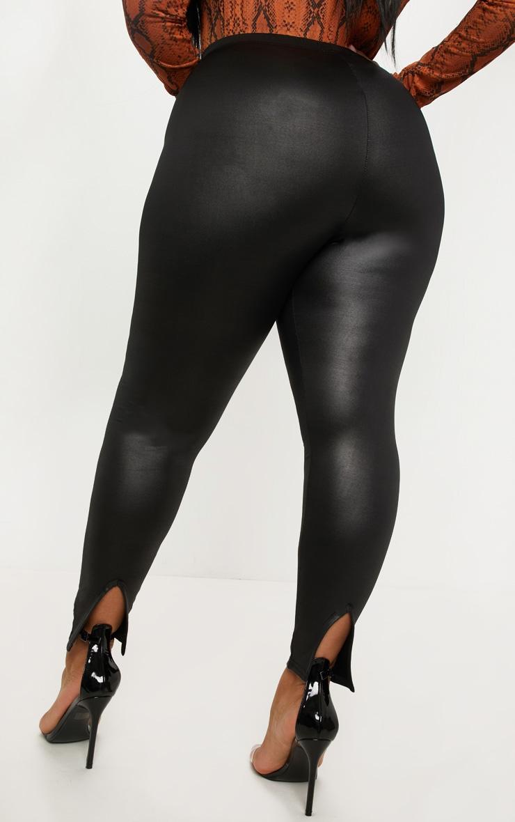 Plus Black PU Detail Legging 4