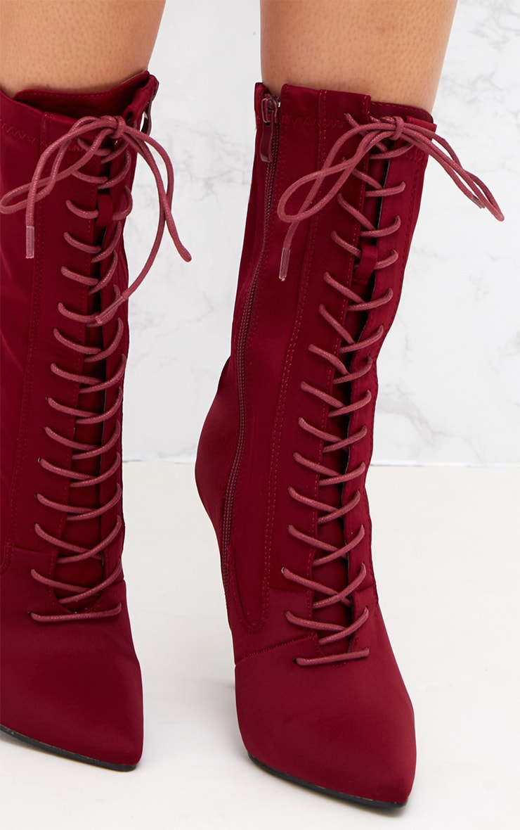 Burgundy Lycra Lace Up Ankle Boot 5