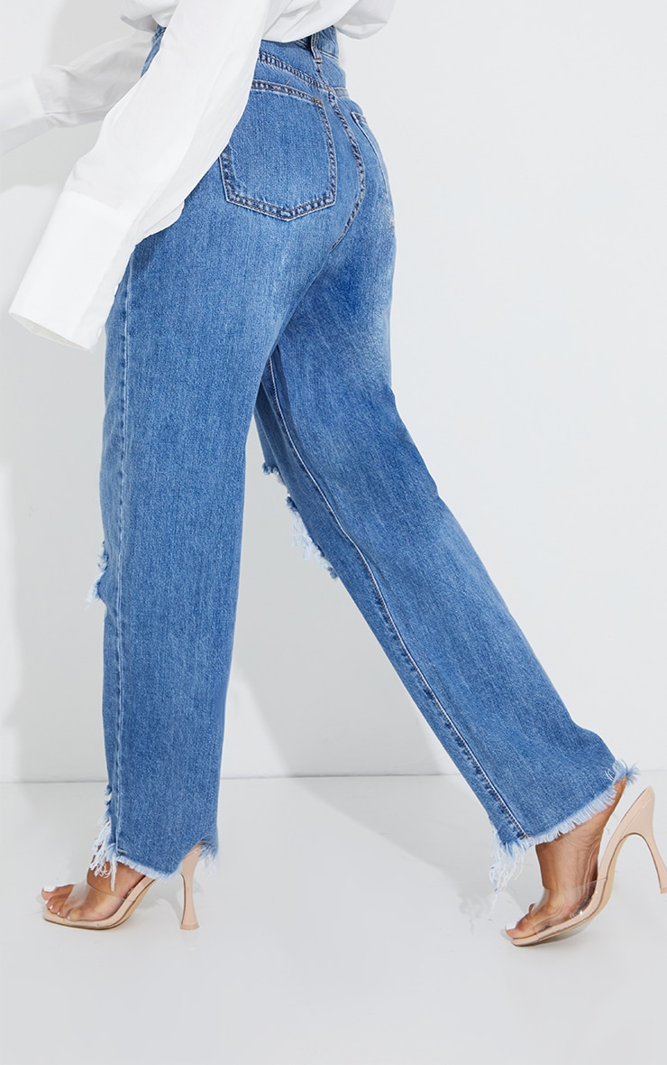 PRETTYLITTLETHING Mid Blue Wash Extreme Ripped Hem Boyfriend Jeans 3
