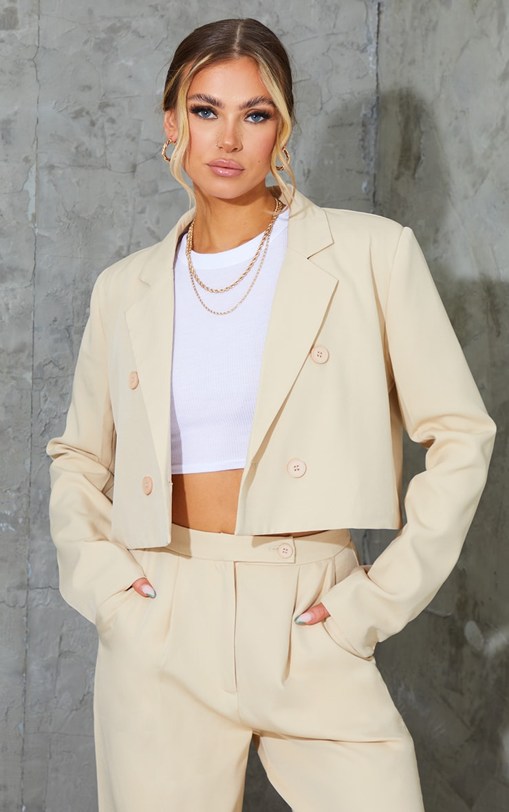 Stone Woven Double Breast Cropped Oversized Blazer 1