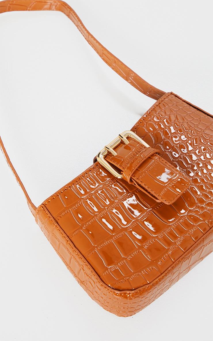 Brown Croc Buckle Front Shoulder Bag 3