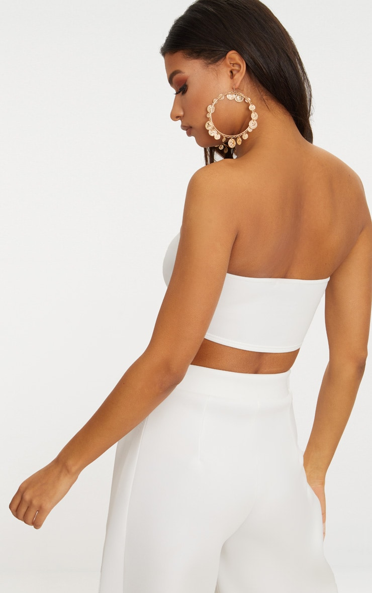 White Scuba Bandeau Crop Top 2