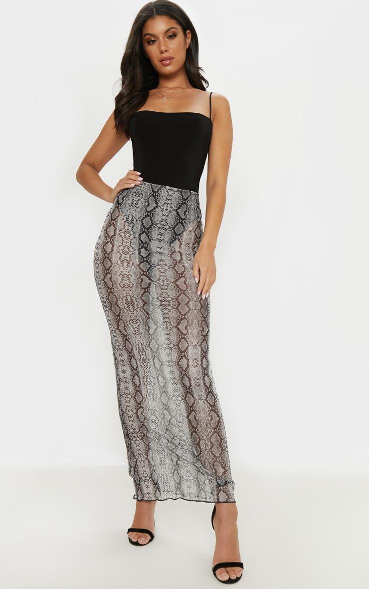 Grey Snake Print Mesh Maxi Skirt  1